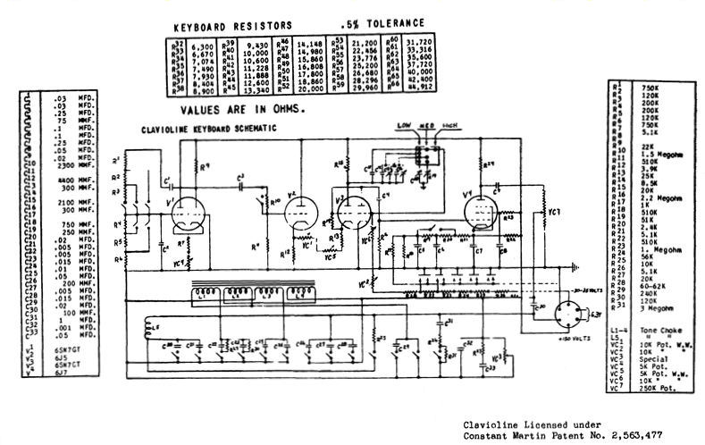 gibson clavioline keyboard instrument (1953) 24 Volts Primary to 120 Secondary Volts Relay Wiring Diagram  Gibson Quick Connect Adapter Step Down Transformer Wiring Power Supply Wiring