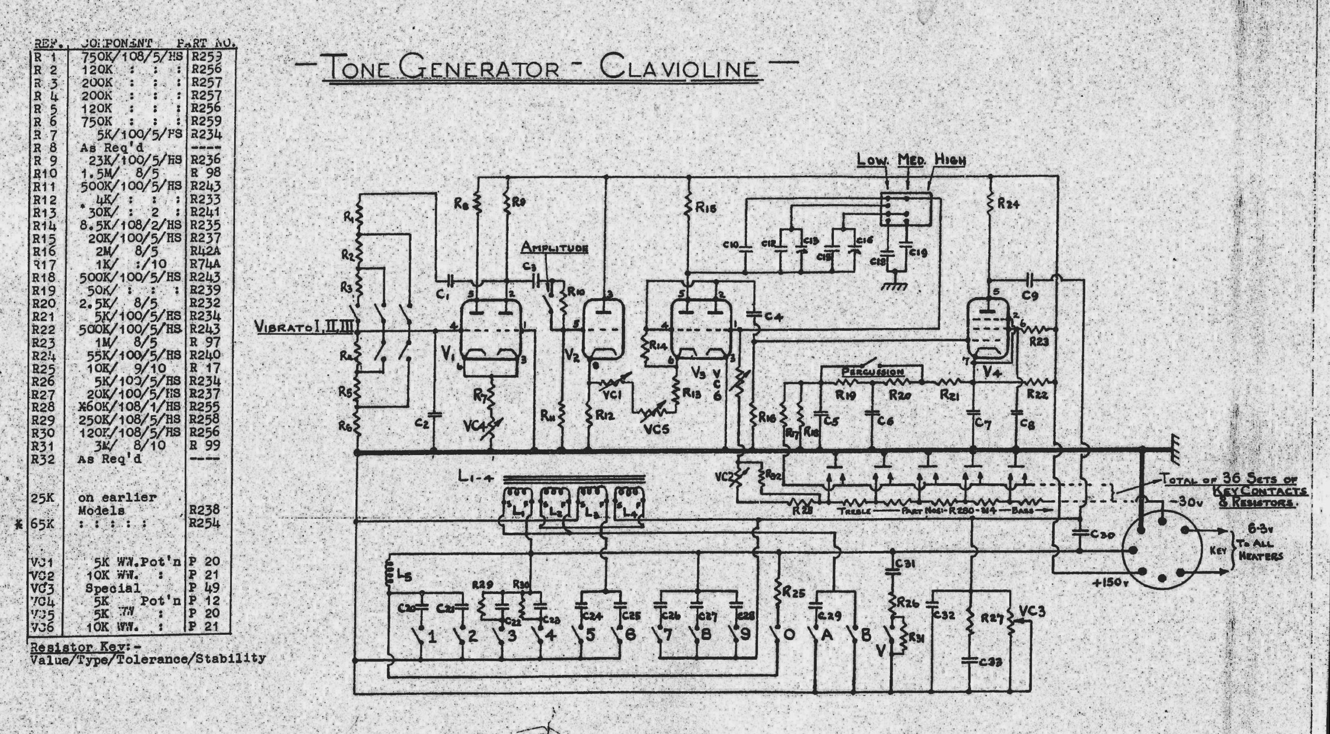 Gibson Clavioline Keyboard Instrument 1953 Schematic Diagram This Page From The Back Of One Manual Is Not Identical To But Perhaps It Will Help You Identify A Few More Items In