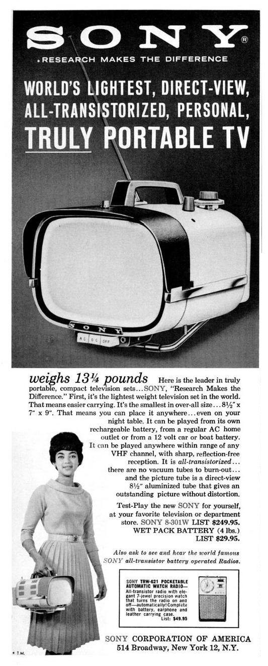Mid-Century Modern Freak | 1960 Vintage Sony 8-301W ...  |1960s Portable Televisions