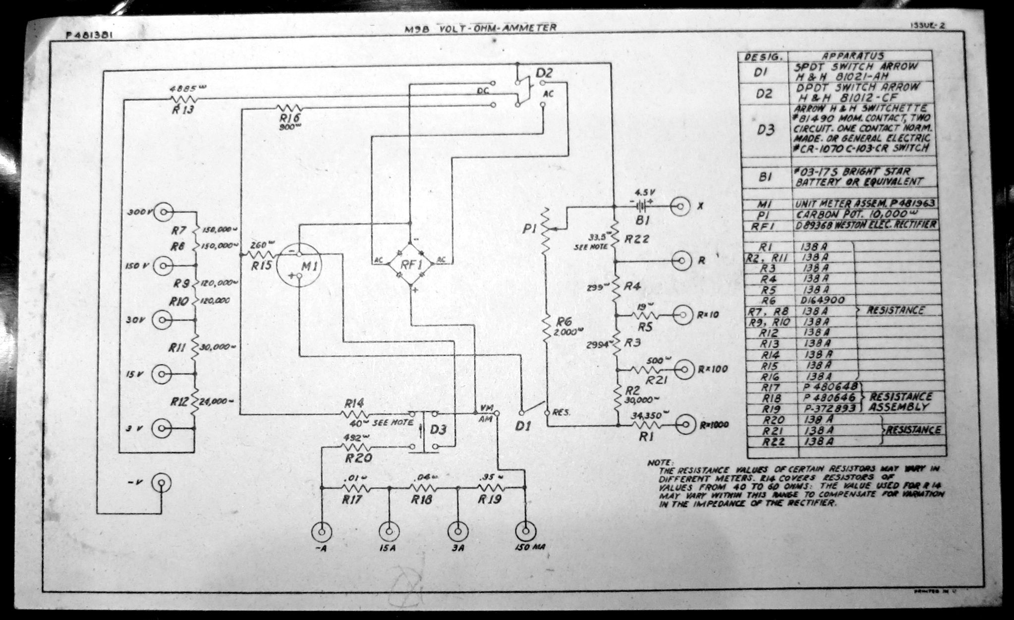 Western Electric D 166852 Volt Amp Ohm Meter 1940s Digital Wiring Diagram Get Free Image About